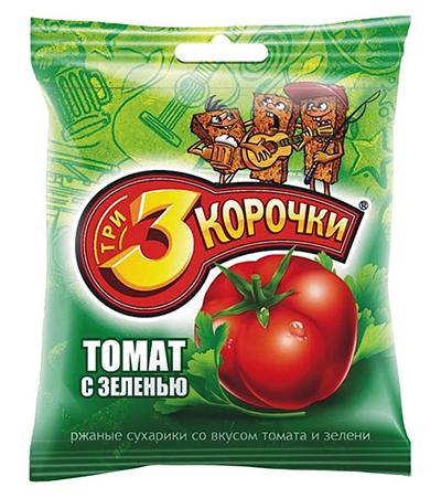 Сухари 3 корочки вкус Сметана Зелень